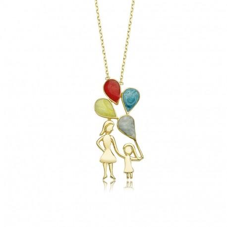 Altın Balon Tutan Anne çoçuk Kolye Dtr31090 ücretsiz Kargo